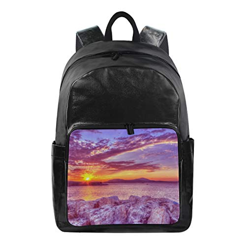 - Sunset Simple Backpack School Bags Casual Stylish Outdoor Sports Large Capacity Casual Travel Rucksack Student College Bookbag for Men Women Teenagers Black