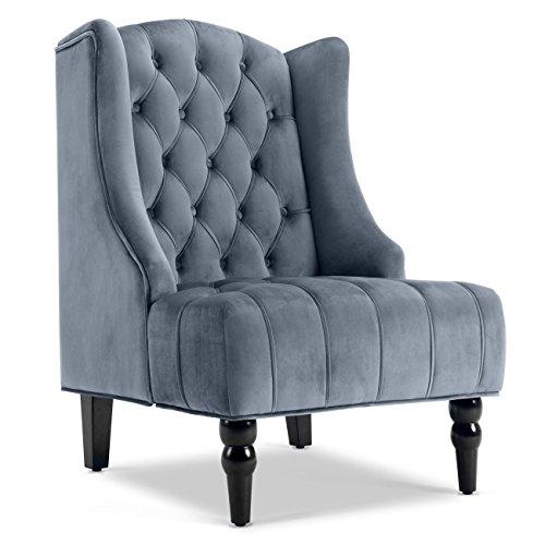 Belleze Modern Wingback Tufted Nailhead Accent Chair Velvet Tall Back Fabric Wing-Back Backrest w/Wood Leg, Gray