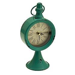 ArtFuzz Round Pedestal Talbe Clock Turquoise 4.75X3.5X9.25