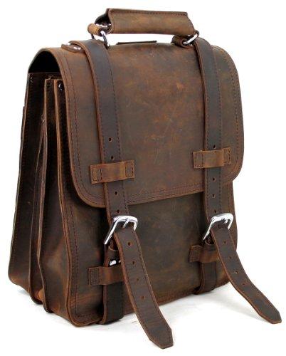 Vagabond Traveler 14″ Full Leather Sport Motor Travel Backpack L61.Vintage Brown, Bags Central