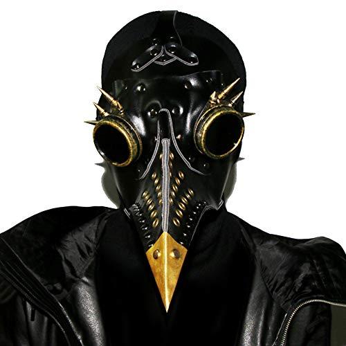 GEANBAYE Hallowmas Scary Real PU and Metal accessories Plague Doctor Bird Mask Beak Doctor(Blck)