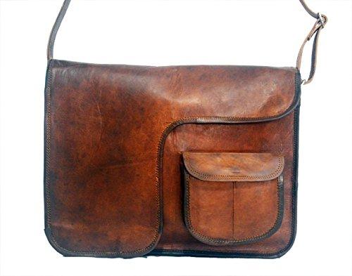 15 Inch Handmade Classic Leather Messenger Satchel Laptop Leather Bag Leather Messenger (Handmade Golf)