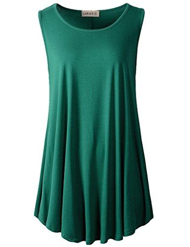 - LARACE Women Solid Sleeveless Tunic for Leggings Swing Flare Tank Tops (2X, Deep Green)