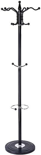 DDLmax 15 Hooks Metal Coat Rack Free Standing, Coat Hat Tree Coat Hanger Holder Stand with Round Base for Clothes,Scarves,Handbags,Umbrella