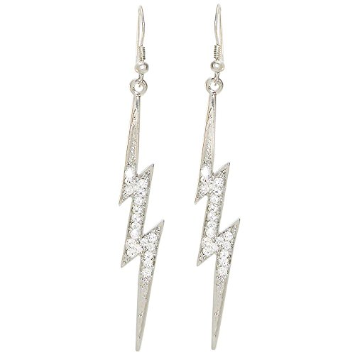 100% Nickel Free Lightning Bolt Earrings Set, Crystals! Made in USA!, in Crystal with Silver Tone Finish ()