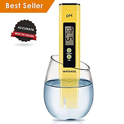 VANTAKOOL Digital PH Meter, PH Meter 0.01 PH High Accuracy Water Quality Tester 0-14 PH Measurement Range Household Drinking, Pool Aquarium Water PH Tester Design ATC (Blue) (Yellow)