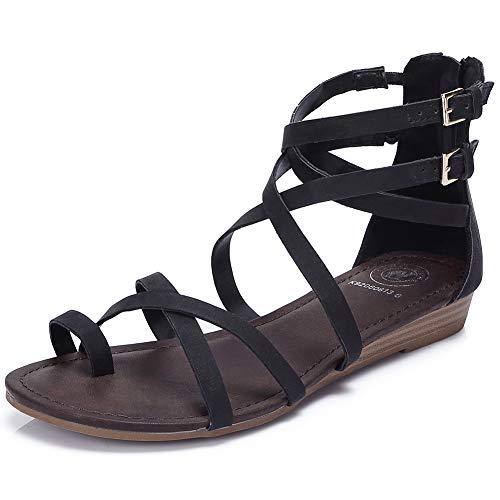 (CAMEL CROWN Women's Gladiator Thong Flat Sandals Crisscross Bungalow Wedge Sandals Zipper Buckle Strap)