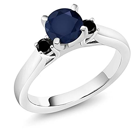 1.20 Ct Round Blue Sapphire Black Diamond 925 Sterling Silver 3-Stone Ring - Sterling Silver Diamond Antique Ring