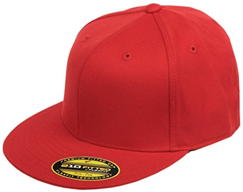 (Original Blank Flexfit Flatbill Premium Fitted 210 Hat Cap Flex Fit Flat Bill Large/Xlarge - Red)