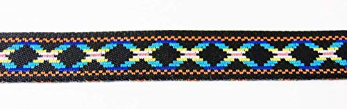 (30 Yards Jacquard Ribbon Trim- Diamonds Design Blue Black Tape for Sewing Quilting Renaissance Dance Hawaiian Bridal Costumes Drapery Home Decor- 1/2
