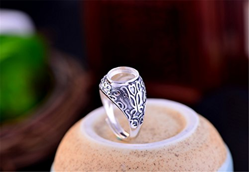 - Ring Blank (8x10mm Oval Blank) Adjustable Thai Sterling Silver Ring Base Oval Cabochon Ring Setting R221B
