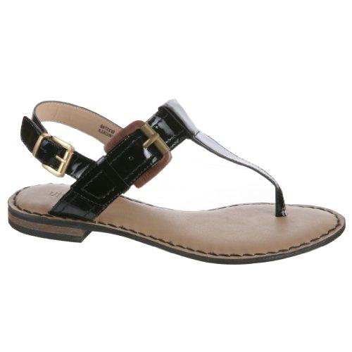 NICOLE Prickle Ladies Flat Thong Sandal with Buckle Detail, Black, 8 M US Women