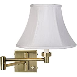 White Bell Shade Antique Brass Plug-in Swing Arm Wall Light