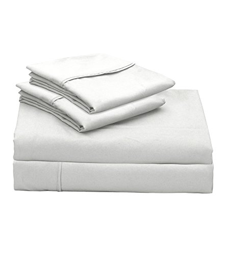 - Lily Linens 400 TC Plain Long Stapled Satin Premium 100% Cotton 4-Piece Bed Sheet Set (King, White) - Flat Sheet, Fitted Sheet and 2 Pillow Cases