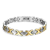 JFUME Gold and Silver Tone Magnetic Bracelet for Women Natural Pain Relief for Arthritis and Joint Pain 7.5 Adjustable