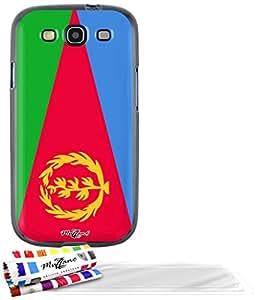 """Carcasa Flexible Ultra-Slim SAMSUNG GALAXY S3 de exclusivo motivo [Eritrea Bandera] [Negra] de MUZZANO  + 3 Pelliculas de Pantalla """"UltraClear"""" + ESTILETE y PAÑO MUZZANO REGALADOS - La Protección Antigolpes ULTIMA, ELEGANTE Y DURADERA para su SAMSUNG GALAXY S3"""