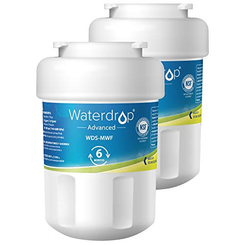Waterdrop MWF NSF 53&42 Certified Refrigerator Water Filter, Compatible with GE SmartWater MWF, MWFINT, MWFP, MWFA, GWF, HDX FMG-1, GSE25GSHECSS, WFC1201, RWF1060, 197D6321P006, Kenmore 9991, 2 - Profile Refrigerators Ge