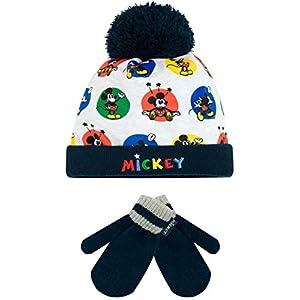 Disney Boys' Mickey Mouse Hat & Gloves Set Blue One Size