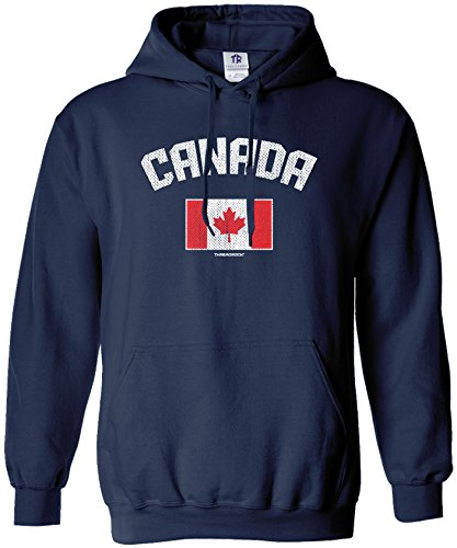 - Threadrock Men's Canada Canadian Flag Hoodie Sweatshirt XL Navy