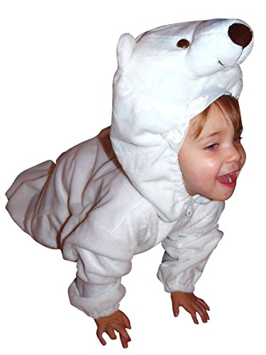 Polar Bear Mascot (Fantasy World F24 Kids Polyester Polar Bear Halloween Costume, Size - 9)