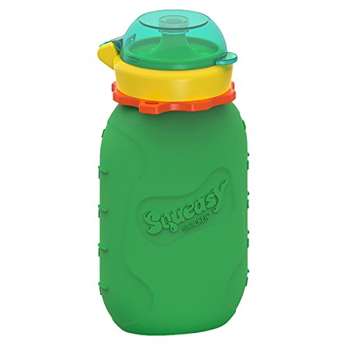 Reusable Baby Food Pouch + Squeeze, Portable, Refillable Baby Food Container, Storage + Great for Smoothies and Snacks + 100% Food Grade Silicone - Squeasy Snacker - Featuring No-Spill Insert