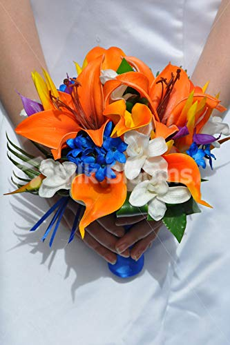 (Silk Blooms Ltd Artificial Bright Orange Oriental Lily and Dendrobium Orchid Wedding Bridesmaid Bouquet w/Blue Stephanotis)