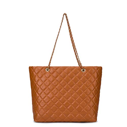 Women Large Capacity Work Tote Quilted Shoulder Bag PU Leather Tan Crossbody Bag with Chain Shoulder Strap