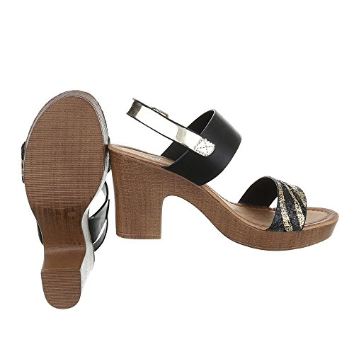 Ital-Design High Heel Sandaletten Damenschuhe Plateau Blockabsatz Blockabsatz Schnalle Sandalen/Sandaletten Schwarz Gold