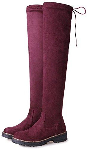 niedrigen Frauen auf Easemax Booties Wildleder über Blockabsatz faux Zehe weinrot runde ziehen bequeme kniehohe 8CCnq6wd