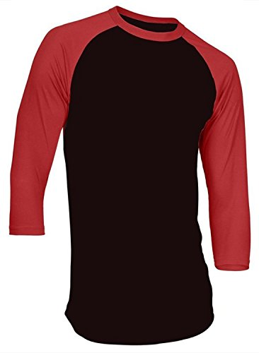 Sleeve Jersey 1 - Hat and Beyond Mens Raglan 3/4 Sleeve T-Shirts Baseball Plain Fitted Jersey 5oz (Large, 1RD3401 Black/Red)