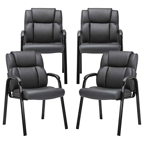CLATINA Leather Guest Chair with Padded Arm Rest for Reception Meeting Conference and Waiting Room Side Office Home Black BIFMA Certified 4 Pack