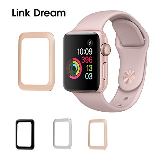 Apple Watch Screen Protector Link Dream [ Anti Bubble ] [Scratch Free] Metal Frame Full Coverage Tempered Glass Screen Protector for Apple Watch (Rose Gold, Series 3 38mm) (Rose Gold Link)