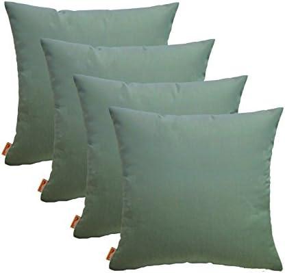 RSH D cor Set of 4 Indoor Outdoor Decorative Throw Pillows Sunbrella Canvas Spa – Choose Size 24 x 24