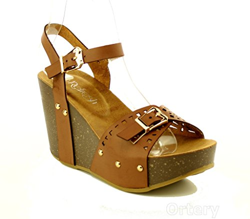 WestCoast Mara-21 Women's Open Toe Ankle Strap Wedge Platform Sandal Shoes Brown 10 (Strap Toe Wedge Ankle)