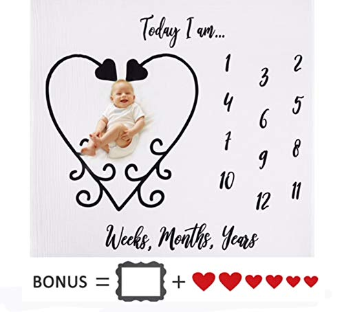 Monthly Baby Milestone Blanket - 100% Organic Muslin Cotton - 2 Bonus Photography Props + 1 eBook - for Newborn Baby Boy & Girl Backdrop Blanket - New Mom Baby Shower Gift with Box - Baby Registry