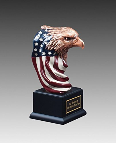 Eagle Award with American FlagブロンズSculputure 9 1 / 2