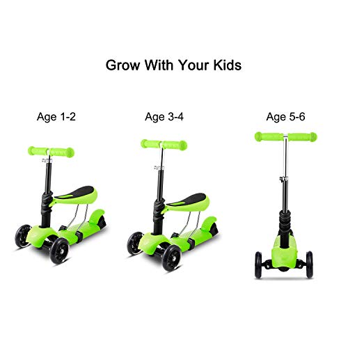(Colorful Life - 4U 3 LED Wheels Kids Scooter Kick Child Toddlers Adjustable Height w/seat for Boy Girls -)