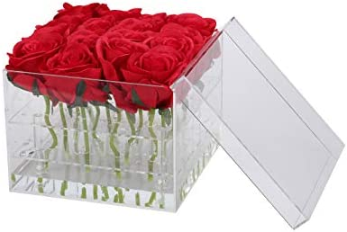 I-MART Acrylic Flower Box, Flower Pot, Vase with Removable 2 Tiers 16 Holes