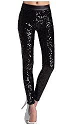 Sequins Faux Leather Leggings
