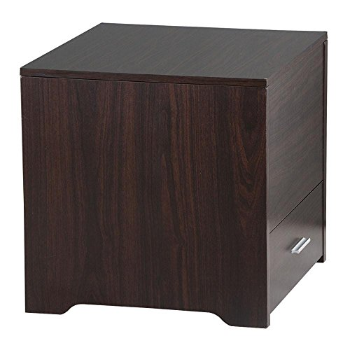 Yaheetech Wood Bedside Table Cabinet with Storage Drawer and ...