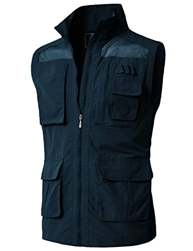 H2H Men's Quick Dry Photography Vest Water Resistant Summer Fishing Waistcoat with Hood Navy US 2XL/Asia 3XL (KMOV0151)