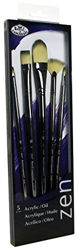 Royal & Langnickel Zen 5 Piece Long Handle Acrylic & Oil Fil