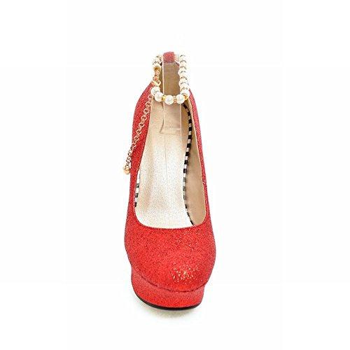 Carolbar Women's Bling Bling Sexy Beaded High Heel Platform Court Shoes Red w7LVPb