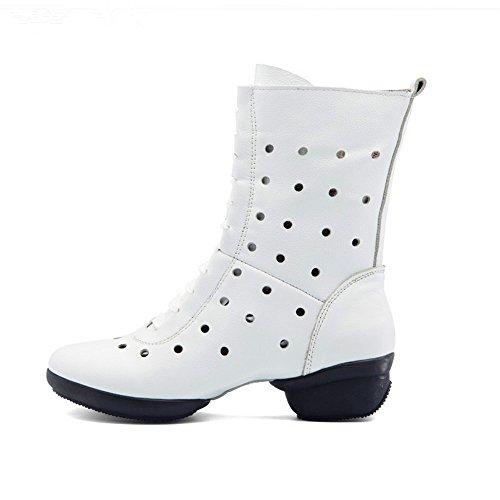 Qxw talón gruesa cabeza redonda cremallera cálida cuero damas botas cortas White (hollow)