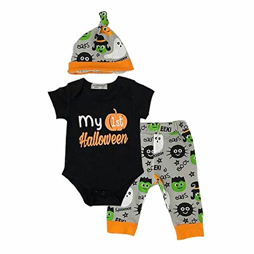 Mellons Baby Boys Girls 3pcs Set Halloween Party Outfit Set Pumpkin Romper Bodysuit Pumpkin Witch Pants Hat Outfits for $<!--$7.99-->