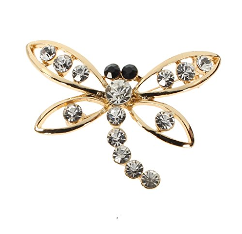 Pin Dragonfly Onyx - Women's Gold and Black Dragonfly Brooch with Swiss Crystals Designer Pin