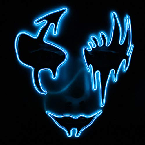 Price comparison product image Sound Activated Mask LED Halloween Masks, Outsta Voice Control Sound Reactive Adjustable Flashing Mask for Rave Party, Festival, Cosplay (Blue)