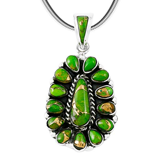 Turquoise Necklace Pendant 925 Sterling Silver Genuine Turquoise & Gemstones (20