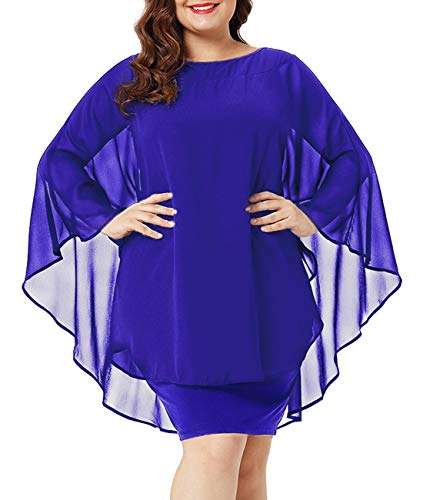 Urchics Womens Casual Chiffon Overlay Plus Size Cocktail Party Knee Length Dress Blue XXXL ()