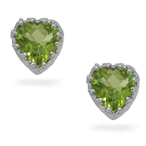 14k White Gold Finish 1.25Ctw Heart Shape Peridot CZ Crown Style Women Stud Earring